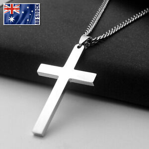 Stainless-Steel-Plain-Silver-Jesus-Cross-Crucifix-Pendant-Necklace-Mens-amp-Womens