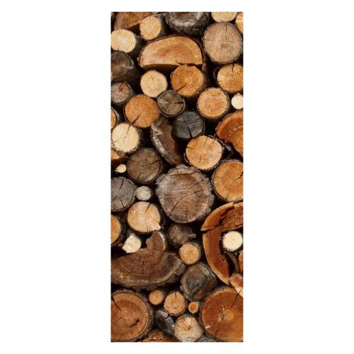 Tür-Aufkleber Türbild Türtapete Brennholz Haufen Tapete Wandbild M0706