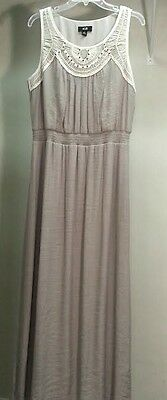 NWT $70 AGB Brown Taupe Sleeveless Crochet Maxi Dress Size: XL