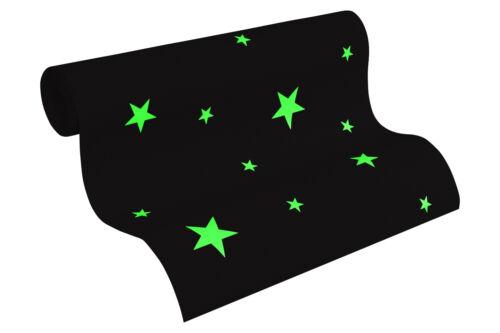 """Vliestapete /""""Day /& Night/"""" hellgrau weiß 32440- Sterne die im  Dunkeln leuchten"""