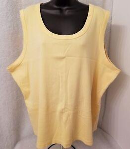 CJ-Banks-Womens-Yellow-Tank-Shirt-Top-Blouse-Size-3X