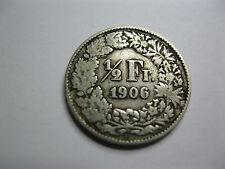 Suisse. Switzerland. 1/2 Franc. Argent. 1906