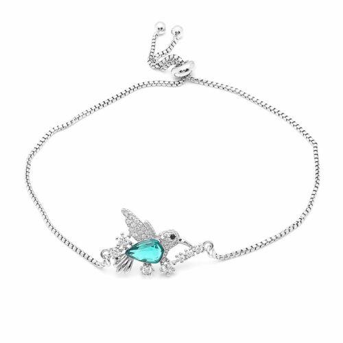 Colibri Sterling Silver Vert Zircone cubique Réglable Chaîne Bracelet Ginger Lyne