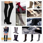 WOMENS LADIES KNEE THIGH HIGH LOW FLAT HEEL OVER THE KNEE  BOOTS SIZE