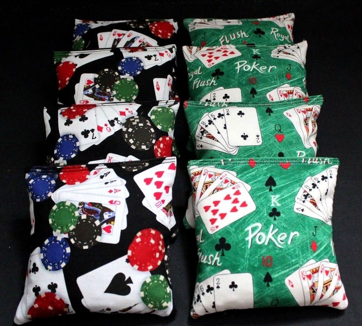 POKER PLAYING CARDS & DICE Cornhole Bean Bags ACA Regualtion Corn Toss Casino