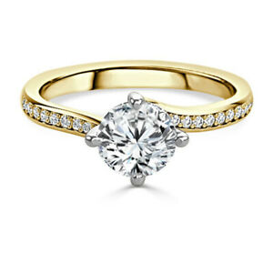 1.20 Ct Round Cut Genuine Moissanite Wedding Ring 14K Solid Yellow Gold Size 9.5