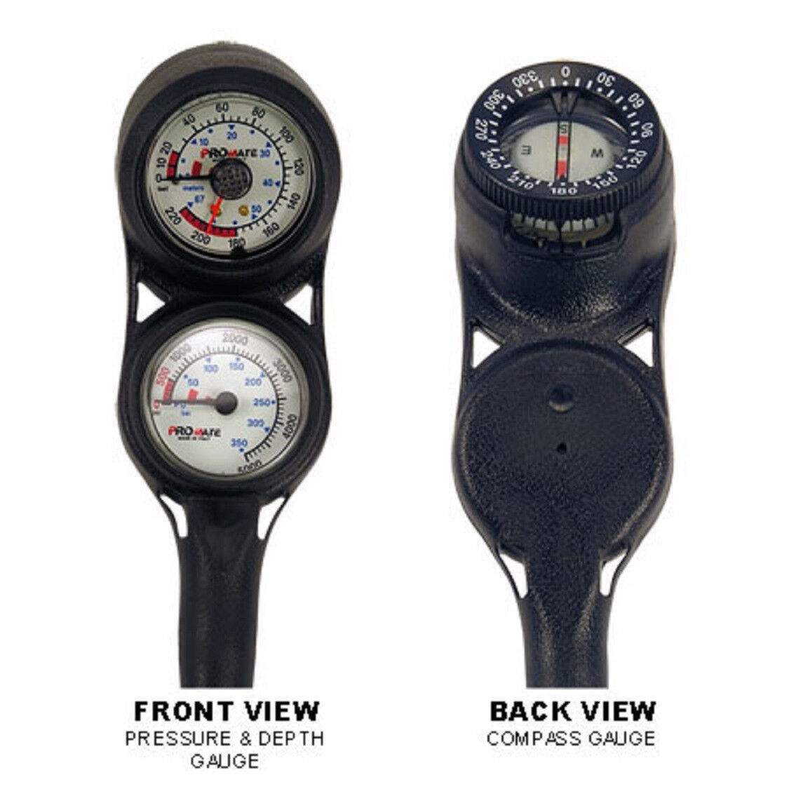 NEW Compact Scuba Dive Brass SPG and Depth Gauge w  Compass Console PSI & BAR