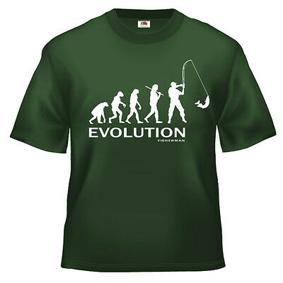 GroßZüGig Funny Fishing Evolution Of Man T Shirt 100% Cotton All Sizes And Colours SchöNe Lustre