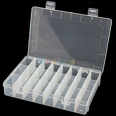 Adjustable 24 Compartment Plastic Storage Box Jewelry Earring Bin Case Container