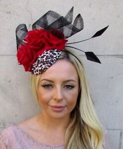 12bffee4 Image is loading Leopard-Print-Black-Red-Rose-Flower-Feather-Hat-