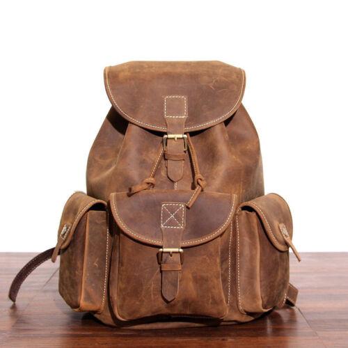 Heavy Duty Men/'s Genuine Cowhide Leather Backpack Briefcase Rucksack Laptop Bag