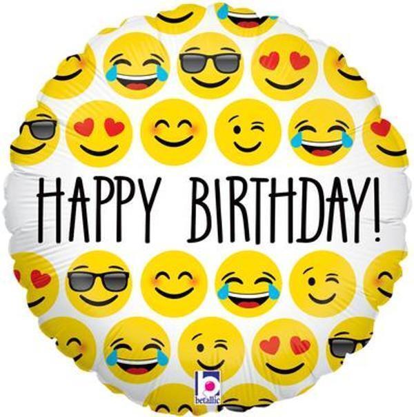 18 Happy Birthday Helium Foil Balloon Emoji Smiley Face Oak 36275p