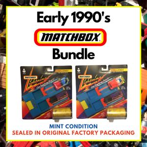 Matchbox-1991-joblot-Pacote-In-A-Box-Carros-Lightning-Desafio-conjuntos-de-Lancador-De-Dupla-x2