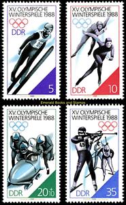 EBS-East-Germany-DDR-1988-Winter-Olympics-Calgary-Michel-3140-3143-MNH