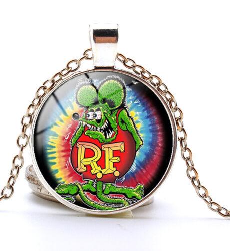 Metal Vintage Silvery Big Daddy Ed Roth Time Gem Necklace Gift Legends Rat Fink