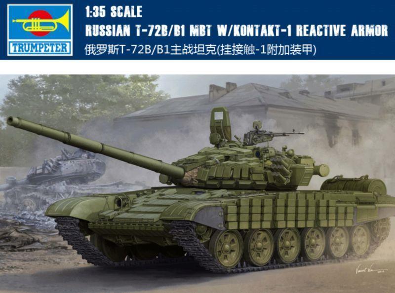 ◆ Trumpeter 1 35 05599 RUSSIAN T-72B B1 MBT W KONTAKT-1 REACTIVE ARMOR model kit