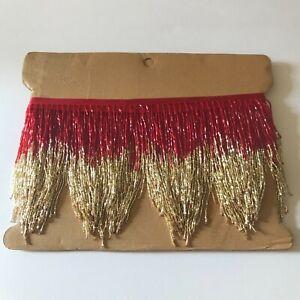 5 yard bolt-44.5 RED Glass BUGLE Bead Beaded Fringe Lamp Costume Trim