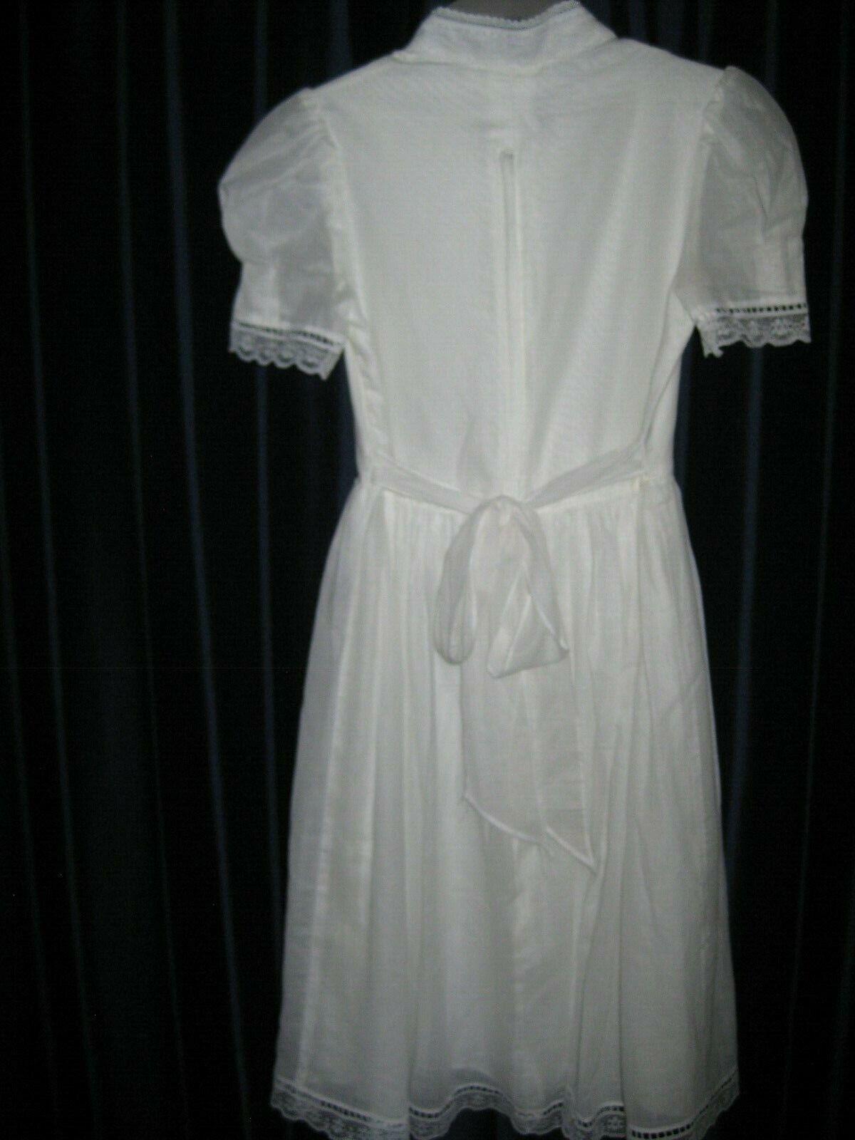 Gunne Sax White Dress Girls Size 12 Pre-Owned - image 6