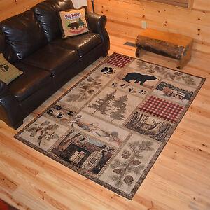 Lodge-Cabin-Bear-Deer-Buck-Pinecone-Black-Area-Rug-FREE-SHIPPING