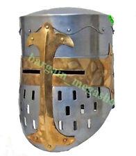 Medieval Knight Templar Wearable Metal Crusader Helmet Armor w/ mason's cross