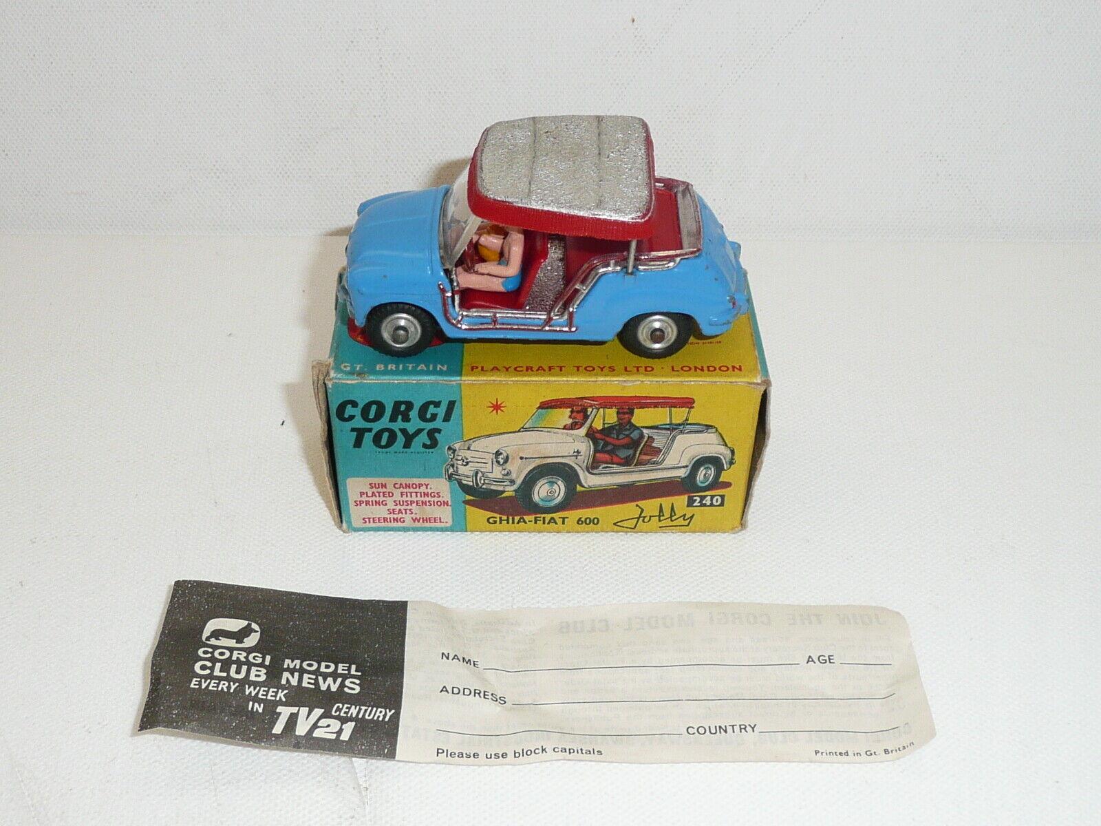 CORGI 240 GHIA FIAT 600 Jolly nrmint in scatola con volantino  ORIGINALE