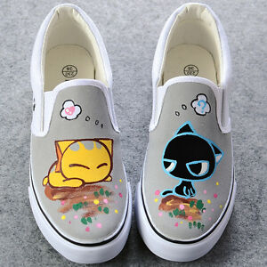 New-Women-Hand-Painted-Cute-Kittens-Sweet-Cats-Slip-on-Comfortable-Canvas-Shoes