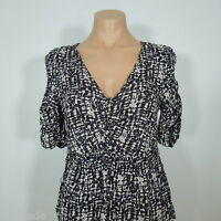 Poetry Clothing V-neck Blouse, Printed Fabric, Elastic Waistline, Size S (new)