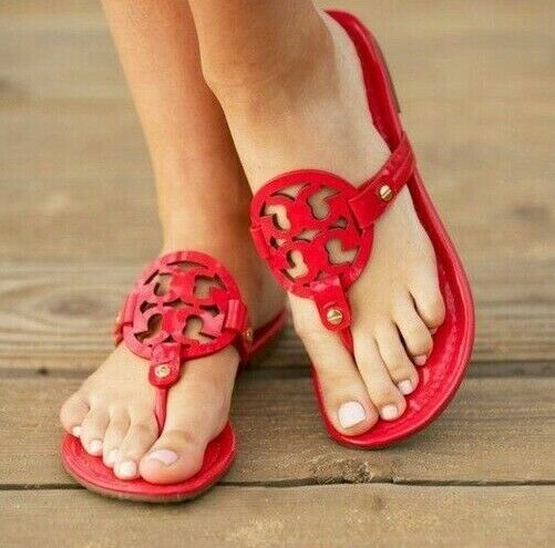 Tory Burch Miller Red Patent Leather Sandals Size 8