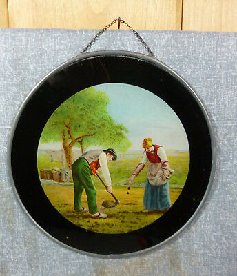 "Steady Antique Lithograph Flue Cover Farming Couple Sowing Seeds 7 3/4"" Kitchen & Home Collectibles"