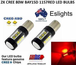 2X BAY15D 1157 80W RED CREE LED CAR BRAKE STOP TAIL LIGHT BULBS ERROR FREE GLOBE