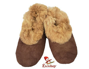 Etchiboy-Slippers-Pantoufles-Chaussons-Sheep-and-Alpaca-Mouton-Alpaga-Brown-Trim