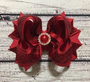 """5"""" Red Glitter Sparkle Holiday Christmas Baby Toddler Girl Boutique Hair Bow"""