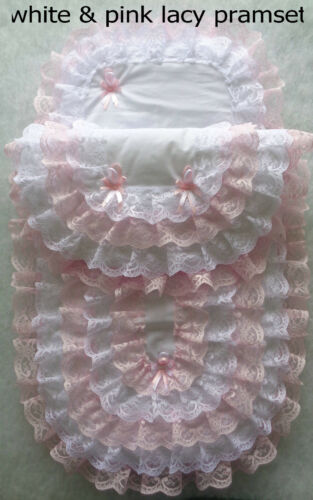 New Handmade Babys 2 Piece Lacy Pramset Pram set Blanket Quilt Romany.