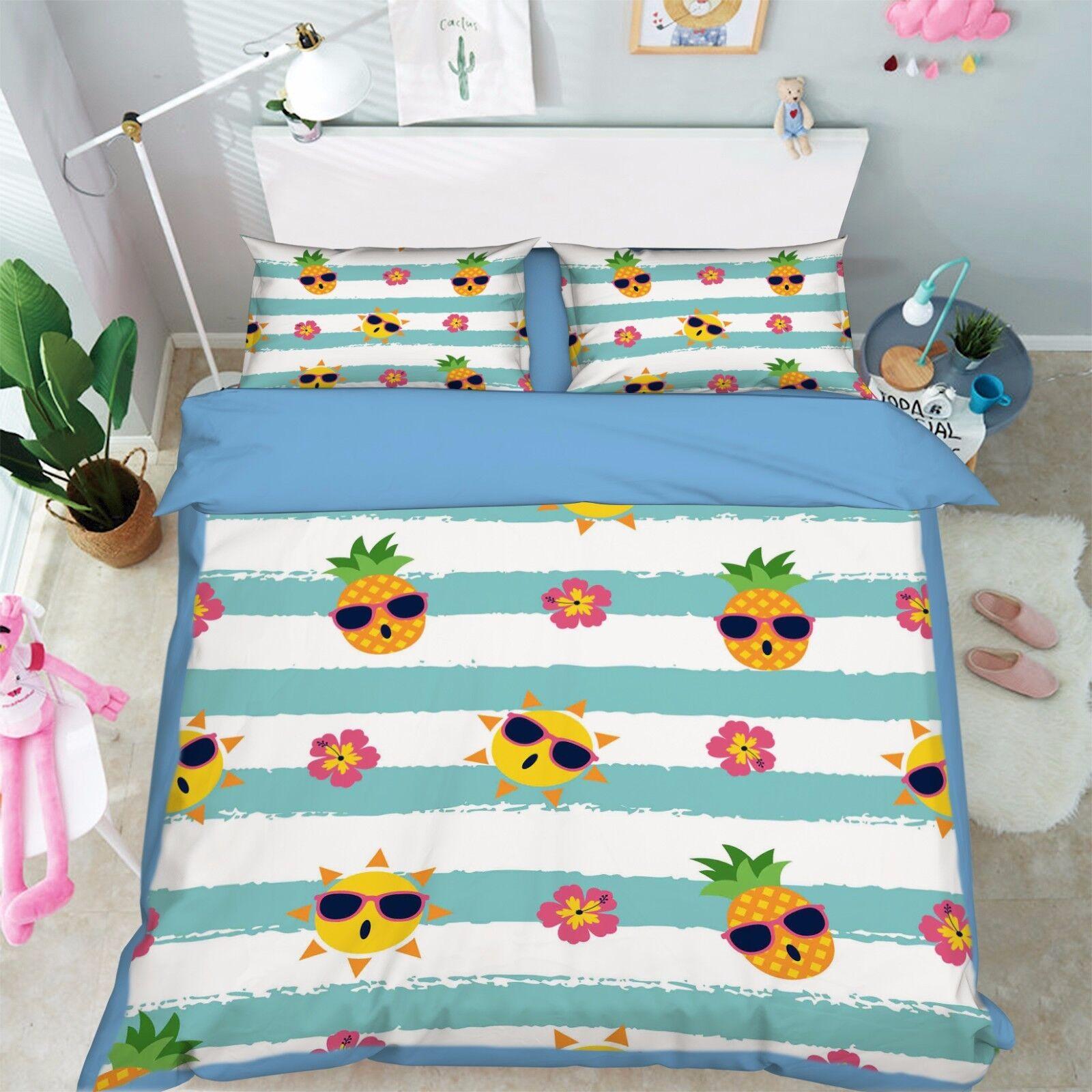 3D Ananas 904 Bett Kissenbezüge steppen Duvet Decken Set Single DE Kyra