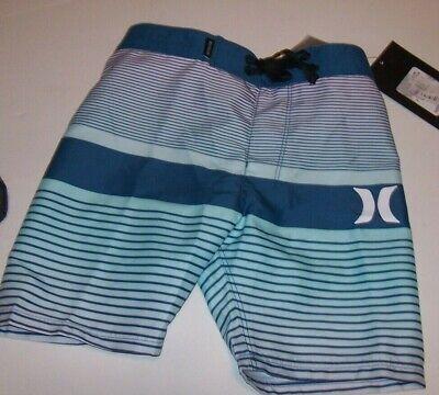 NEW Hurley teal blue stripe board shorts boys swim trunk swimsuit 2T or 4T  | eBay
