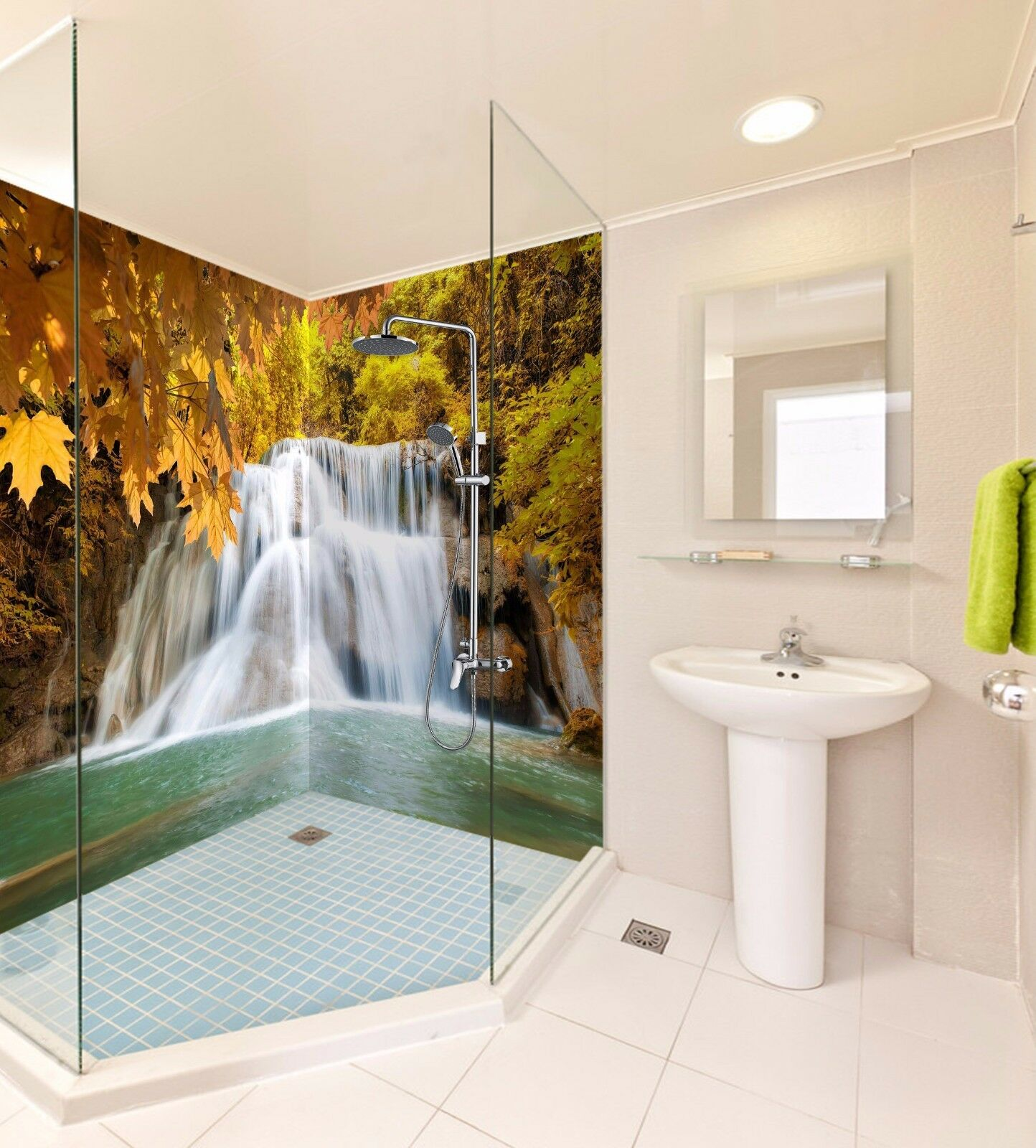3D Waterfall Maple 555 WallPaper Bathroom Print Decal Wall Deco AJ WALLPAPER AU