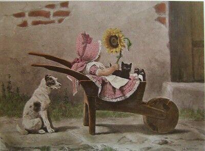 art print~CARRIAGE FOLK~toddler girl dog cat wheelbarrow sunflower vtg rep 20x16