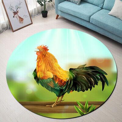 Cartoon Design Rooster Pattern Round Carpet Living Room Floor Mat