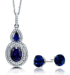 4-50-tcw-Created-Sapphire-Double-Halo-Pendant-amp-Earring-Set
