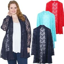 Women's Plus Size Lace Crochet Cardigan Long Sleeve Loose Coat #Navy Blue 3XL