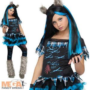 Image is loading Werewolf-Wolfie-Girls-Fancy-Dress-Halloween-Spooky-Kids-  sc 1 st  eBay & Werewolf Wolfie Girls Fancy Dress Halloween Spooky Kids Childrens ...