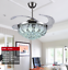 42-034-Chrome-Silver-Remote-Invisible-Ceiling-Fan-Lamp-Crystal-LED-Chandelier-Light thumbnail 5