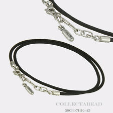 """Authentic Pandora Sterling Silver Black Leather Necklace 17.7"""" 590397BK-45"""