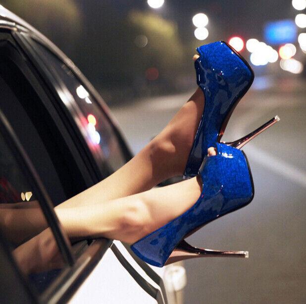 Luxury women's peep toe platform high heel stiletto nightclub pump shoes A11