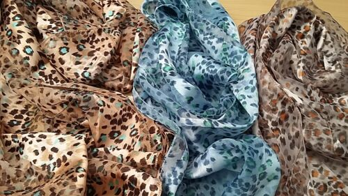 BNWT-Stunning Animal Print Scarves in Silver//Gold or Turquoise//Green Tones.