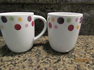 2-The Pampered Chef Simple Addition Polka Dot White COFFEE MUGS Cups ...