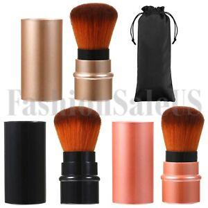 3pcs Travel Retractable Makeup Tool Mini Blush Brush Eye Brow Foundation Brush