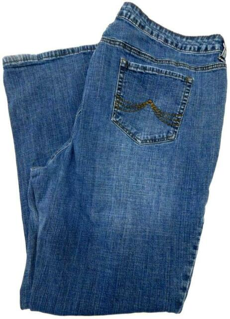St. john's bay blue denim embroidered women's plus size boot cut jeans 20W