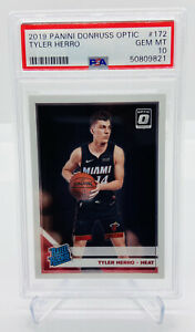2019-20-PANINI-DONRUSS-OPTIC-TYLER-HERRO-BASE-172-ROOKIE-RC-PSA-10-ZION-PRIZM