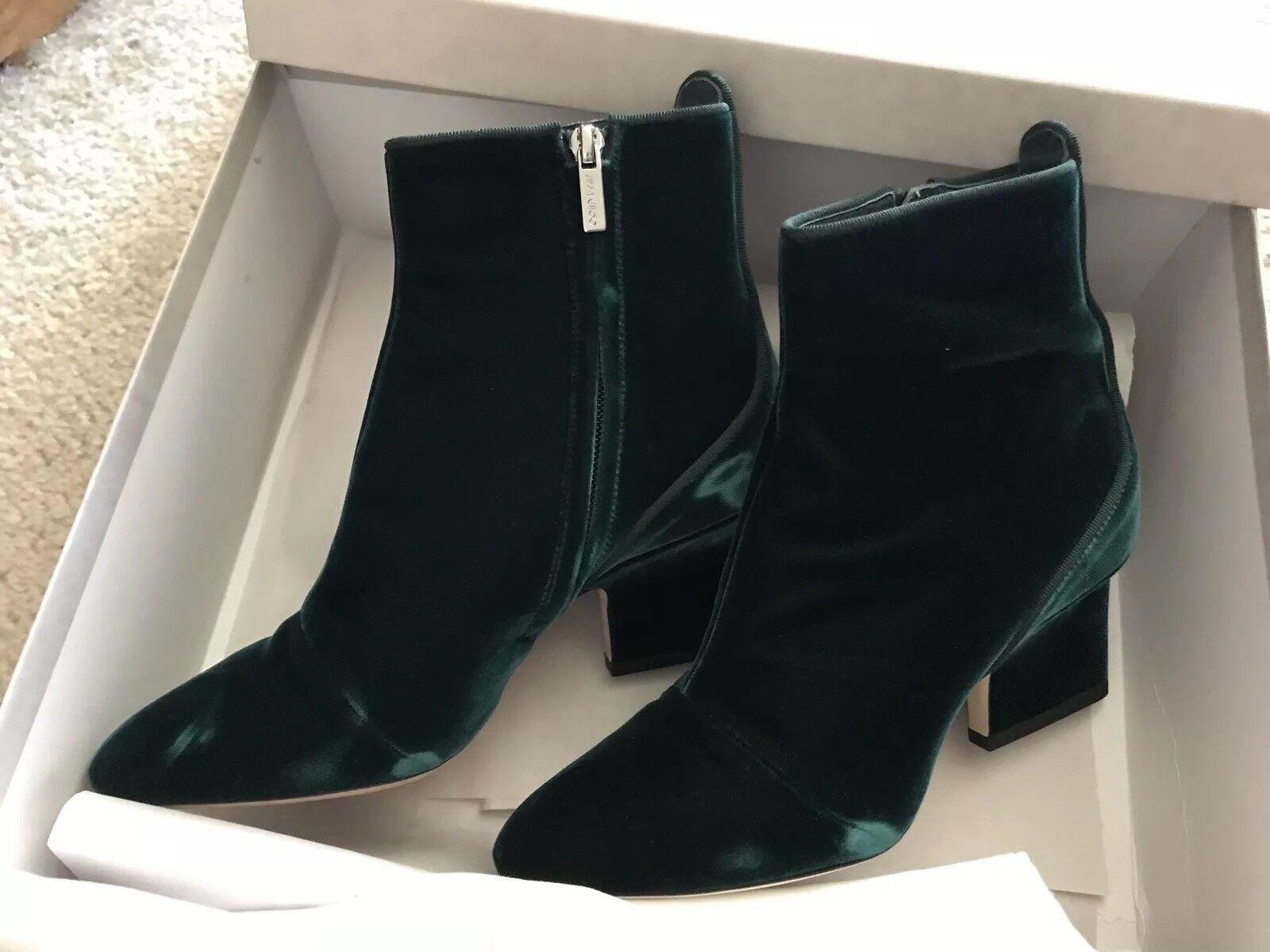 Jimmy Choo otoño otoño otoño de 65 botines de terciopelo, verde botella, talla 37  venta caliente
